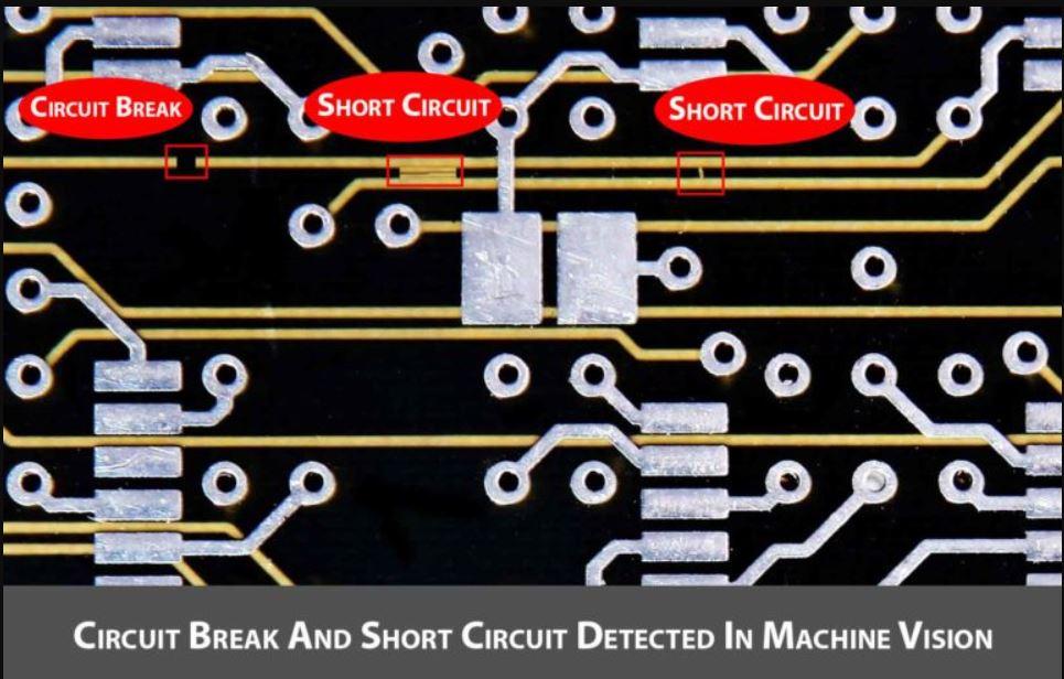 Circuit Break & short circuit detected in machine vision