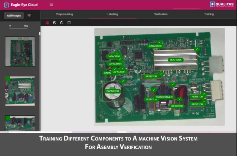 Training different components to a machine vision system for assembly verification